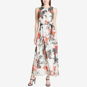 Calvin Klein Printed Tie Belt Floral Maxi Dress